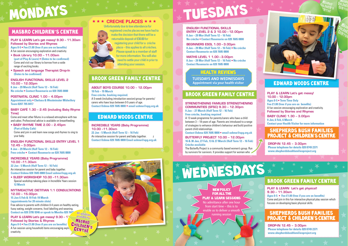 Masbro Children's Centre Programme printed brochures design spread
