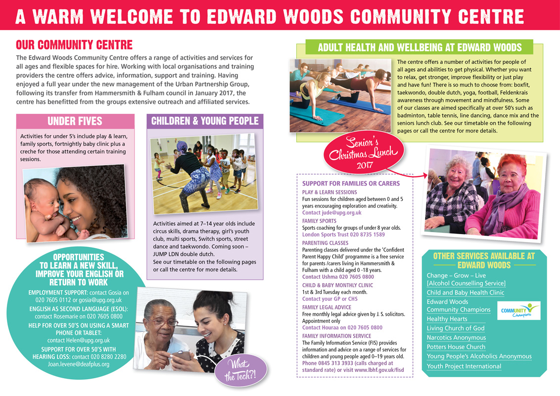 Edward Woods Community Centre printed brochures spread