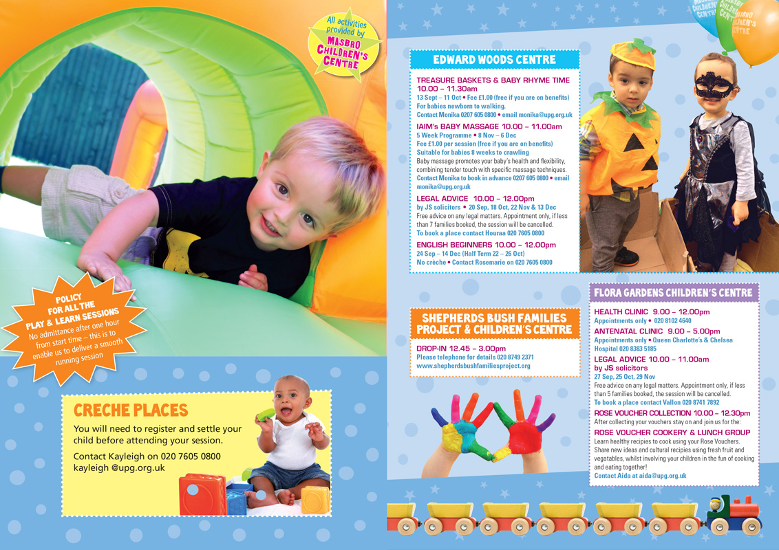 Children's Centre spread from printed brochures