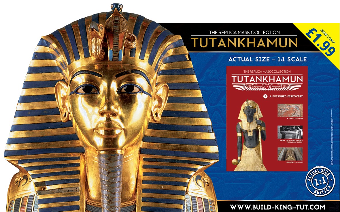 Marketing materials for Tutankhamun mask build-up